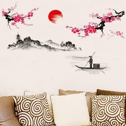 Hot style hot sun plum flower decoration on the wall the sitting room the bedroom wall stick TV setting wall stickers - GKandAa