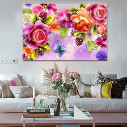 2016 diy 5d diamond Painting Rose flower gift 3D diamond embroidery mosaic diamonds wall stickers home decor - GKandAa