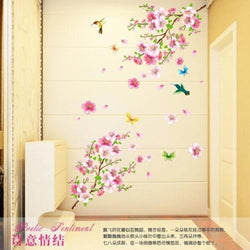 * Large 9158 Elegant Flower Wall Stickers Graceful Peach Blossom birds Wall Stickers Furnishings Romantic Living Room Decoration - GKandAa