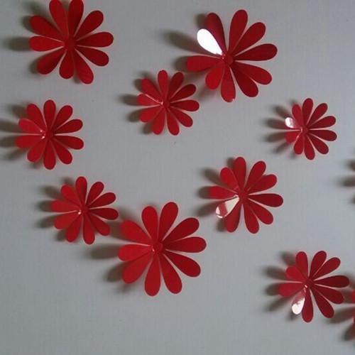 Flower Wall Stickers Multi-Colors 3D Mirror Nice 12pcs DIY-GKandaa.net