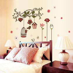 Flowers Cartoon Bird Cage Vine DIY Wall Sticke Stickers Wallpaper Art Decor Mural Kids Children Room Decal Decals - GKandAa
