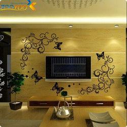 black flower vine butterfly wall stickers home decorations zooyoo051s plant decals mural art removable diy pegatinas de pared - GKandAa