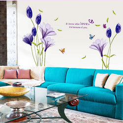 1PCS purple Lily Flowers Mural Wall Sticker Decal Vinyl Art Elegant Flower Sticker Furnishing Romantic Living Room Decoration - GKandAa