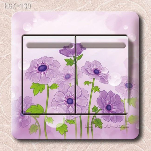 Flower Wall Stickers Lowest Price-PVC 3D parlor bedroom Switch-GKandaa.net