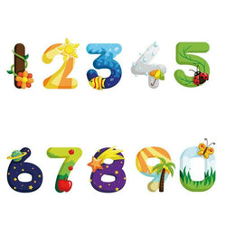 1 Set Home Decor Cartoon Style Numbers Digital PVC Wall Sticker Children Bedroom Star Flower Fish Children Room Decor ETQT0011 - GKandAa