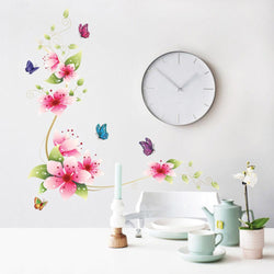 5 design small sakura flower wall stickers bedroom room pvc decal mural arts diy zooyoo6008 home decorations wall decals posters - GKandAa - 1