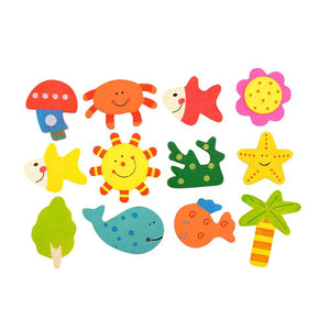 Wooden Baby Toys 12pcs/Set Wood Fridge Gift-GKandaa.net