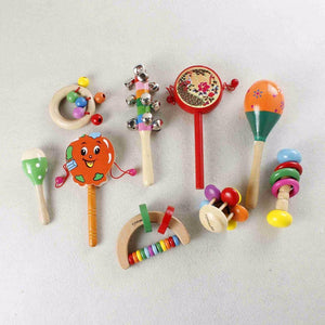 Wooden Baby Toys 1pc baby 0-18 moth Colorful Rattles-GKandaa.net