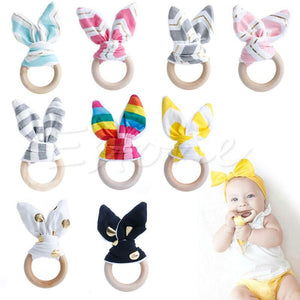 Wooden Baby Toys Bunny Ear Rabbit Natural Sensory-GKandaa.net