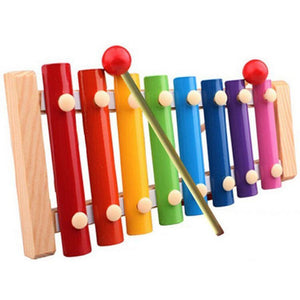 Wooden Baby Toys 8 scales whistle baby early trailer Musical-GKandaa.net