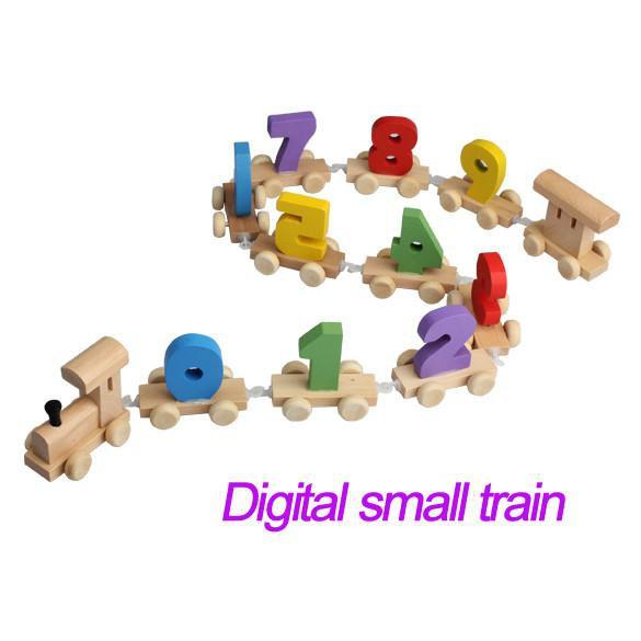 Wooden Baby Toys Digital Railway Wood mini Gift-GKandaa.net