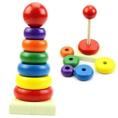 Wooden Baby Toys Rainbow Tower Ring HB88-GKandaa.net