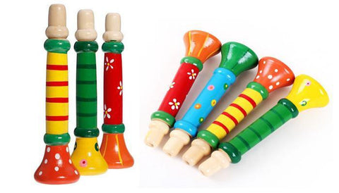 Wooden Baby Toys Cute Trumpet Hooter Bugle Colorful Wood Early-GKandaa.net