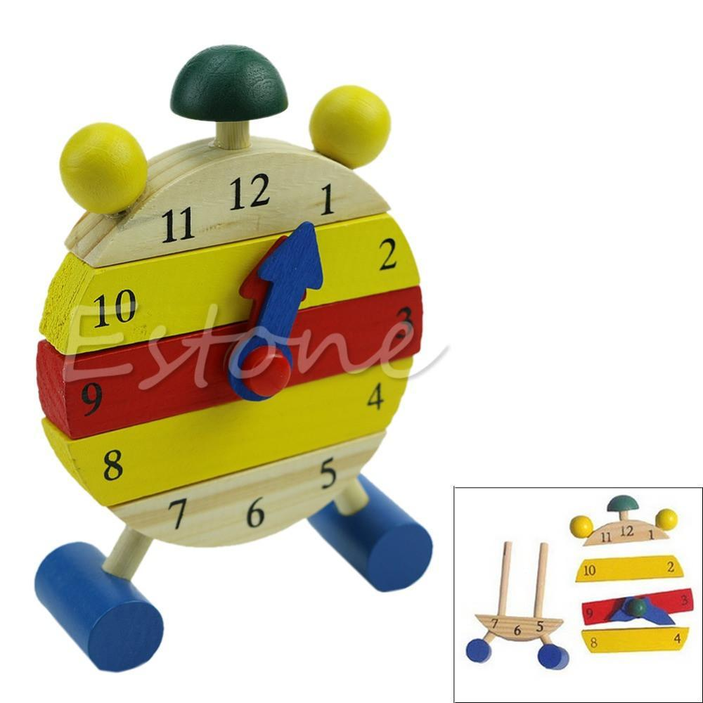 Wooden Kids Toys Wooden Clock 5-7 Years Learning Building-GKandaa.net