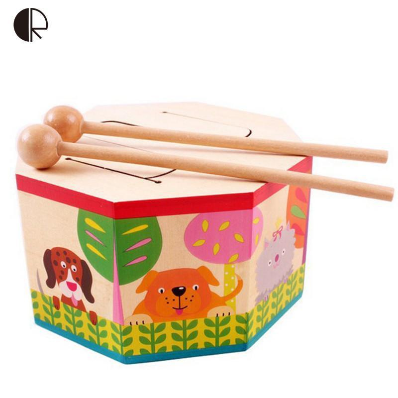 Wooden Baby Toys Drum Early Musical Gift Drum Musical-GKandaa.net