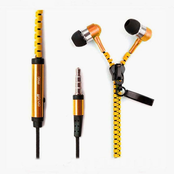 Headphone Earphone Cool Zipper 3.5mm Samsung LG ZTE I-Ear Microphone-GKandaa.net