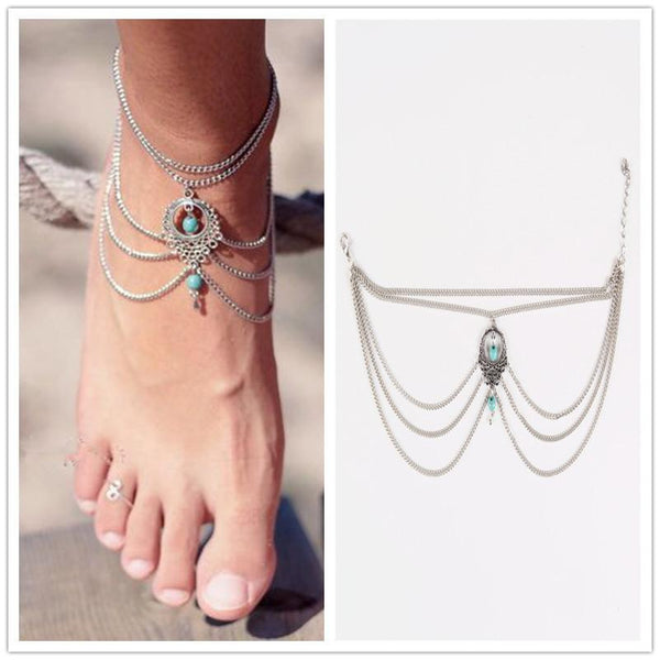 1PC Hot Summer Ankle Bracelet Bohemian Foot Jewelry Turquoise Turquoise Anklets for Women FC029 - GKandAa