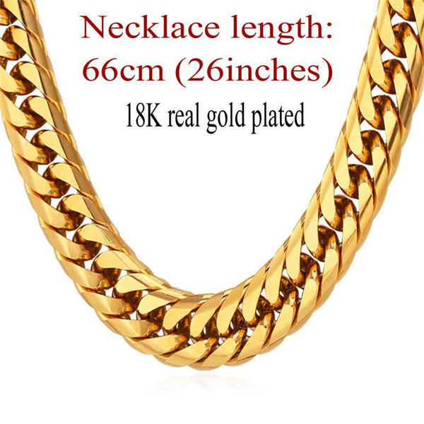 Necklaces American Heavy 13MM 28'' 18K Stamp Gold Plated Big Long-GKandaa.net