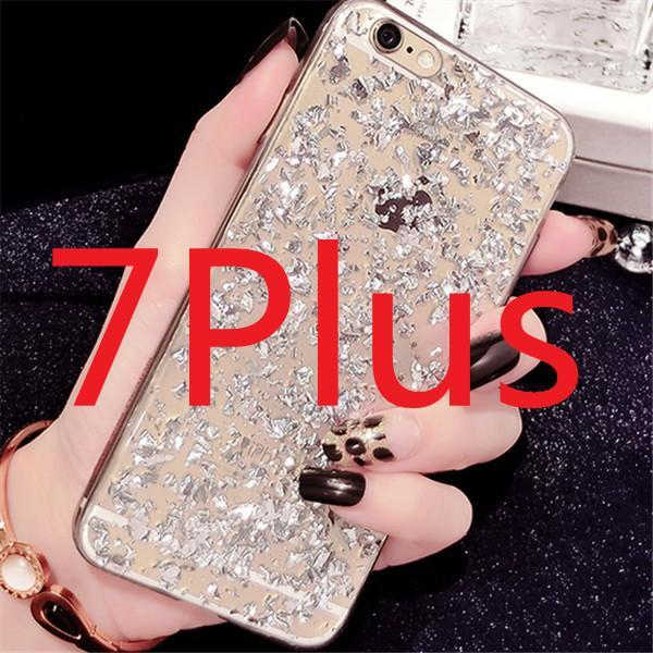 Case Cover for iPhone Gold Foil Paillette Clear Soft ne 5 5S 6 7-GKandaa.net