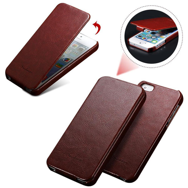 Case Cover for iPhone Retro 5s PU Leather Flip 5 5S SE Ultra Full 5S-GKandaa.net