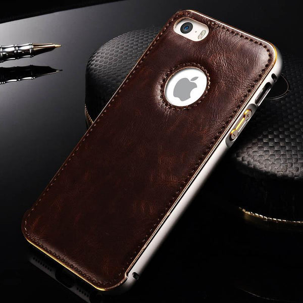Case Cover for iPhone aluminum + PU Leather 5 / 5S / SE 2-GKandaa.net
