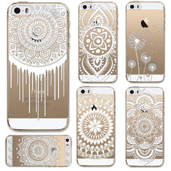 Cases for Apple iPhone 5 5S SE Transparent Floral Paisley Flower Mandala Henna TPU Silicon Phone Cover Shell Capa Back Case - GKandAa - 1
