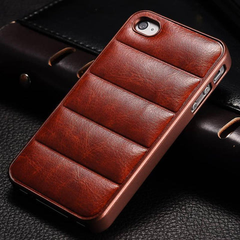 Case Cover for iPhone Vintage Hard 4 4S PU Leather Plastic Frame-GKandaa.net