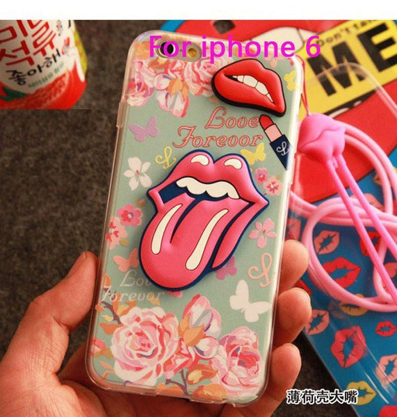 "Case Cover for iPhone 5 5S 6 4.7"" Plus 3D s Seductive mouth shell 5-GKandaa.net"