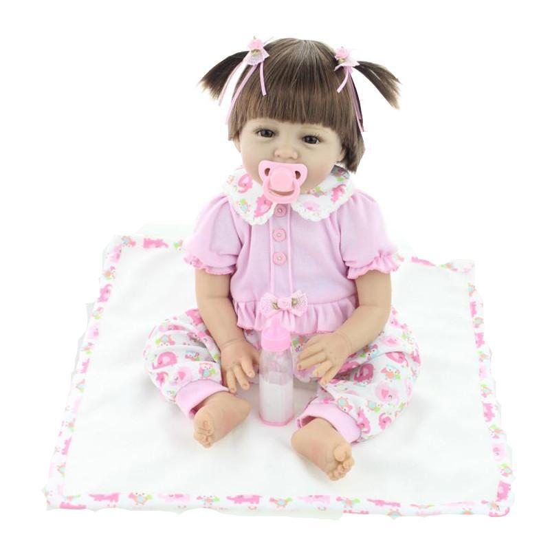 Silicone Baby Dolls 22 Inches 55CM vinyl real lovely baby gift-GKandaa.net