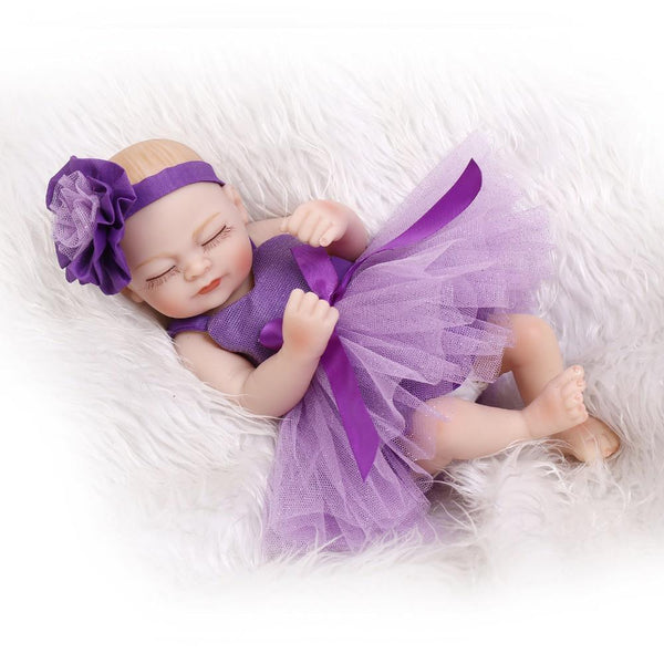 10inch miniature preemie baby doll soft silicone vinyl real touch beautiful purple dress - GKandAa