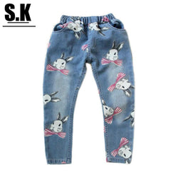 Brand SK Girls Clothing Casual Rabbit Print Jeans for Girls Fashion Kids Clothes Autumn Straight Pants - GKandAa - 1