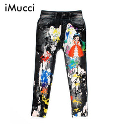 Cowboy Style Digital Printing Kids Cotton Pants Baby Cartoon Jeans Pattern Leggings For Beautiful Girl 5-9 Children Trousers - GKandAa - 1