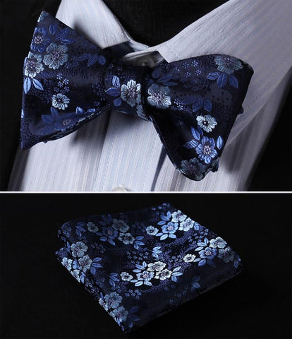 Men's Bow Ties Navy Blue 100%silk Woven Butterfly Self Pocket Square-GKandaa.net
