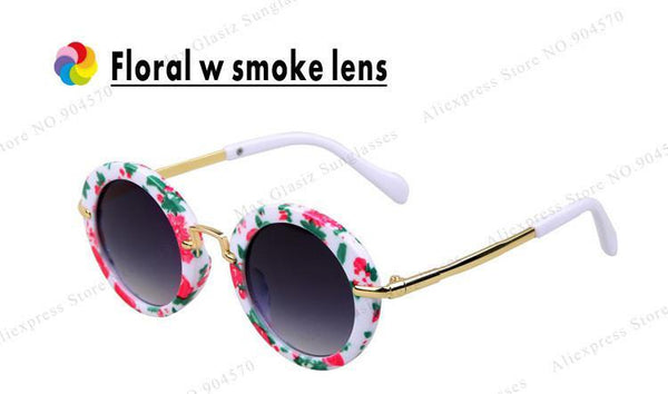 Children's sunglasses round Glasses CE FDA UV400 vintage Eye Girl Cool-GKandaa.net