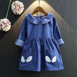 Girls Dresses Cotton Winter Autumn 2016 Long Sleeve Children Dresses Cute Girls Clothes Toddlers Kids Clothes Baby Girl Dress - GKandAa - 1