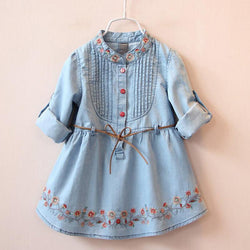 2016 Fashion Spring Autumn Girls Belt Jean Dresses Girls Floral Embroidery Denim Dress Kids Dress - GKandAa