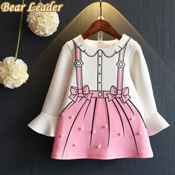 Bear Leader Girls Dress 2016 New Autumn Princess Dresses Children Clothing Flare Sleeve Bow Printing Design for Girls Clothes - GKandAa - 1