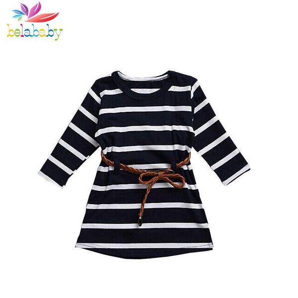 Girl Dress Striped Spring Sleeve Party-GKandaa.net