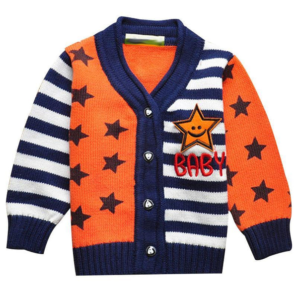 2016 Spring/Autumn Baby Boys Sweater Children Lovely Cotton Striped Cardigan V neck Star Print Tops Outwear Kids Clothing - GKandAa