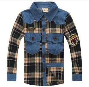 Boys Shirts spring plaid long sleeve shirt-GKandaa.net