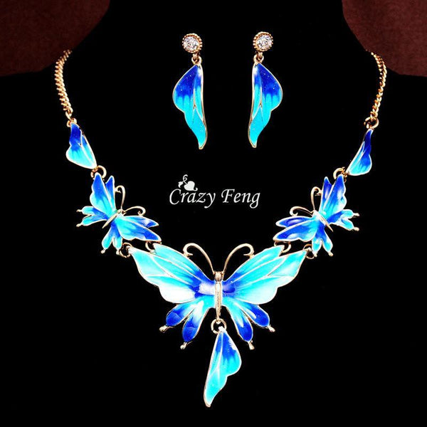 Women 18k Yellow Gold Plated Austrian Crystal Enamel Butterfly 4 Colors Jewelry Sets Chain Necklace Earrings sets Free shipping - GKandAa - 1