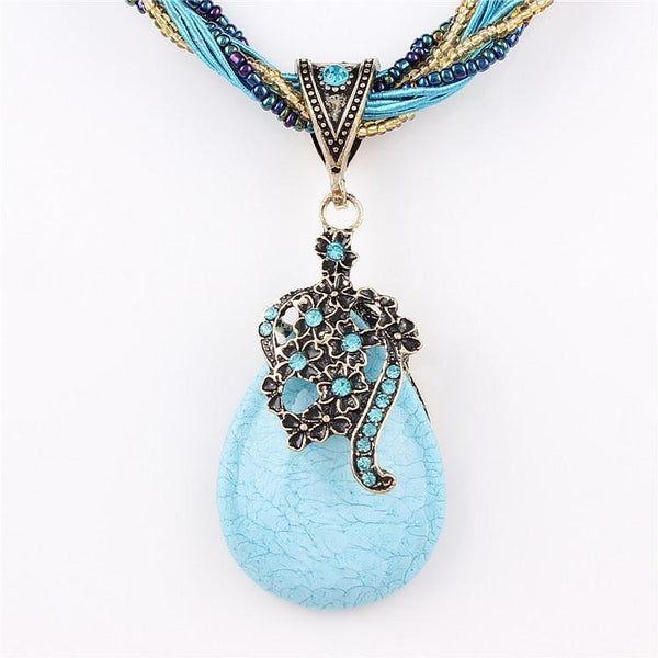 New Statement Choker Vintage Charms Bead Collar Turquoise Pendant Rhinestone Crystal Necklace Women Fine Jewelry Colares 7color - GKandAa - 1
