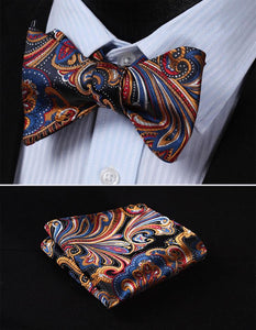 Men's Bow Ties Blue Orange 100%silk Woven Butterfly Self Pocket Square-GKandaa.net