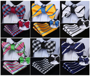 Men's Bow Ties Striped 100%silk Double Sided Woven Pocket Square suite-GKandaa.net