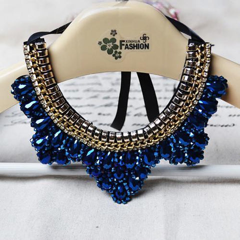 Vintage Beaded Collar made-up n Crystal Beads Charm Lace-GKandaa.net