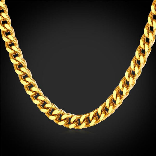 Necklaces Cuba 18K Stamp Real Gold Plated 6MM 56CM 22 I Cuba GN1412-GKandaa.net