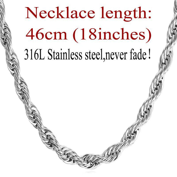 Necklaces 9MM 316L stainless Steel/ Gu/18K Real Gold Plated Rope-GKandaa.net