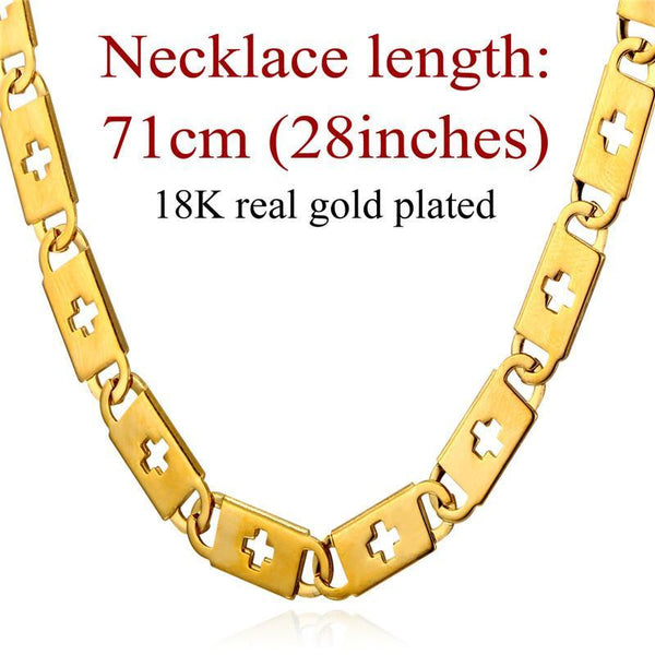 Necklaces Cross 18K Stamp 6mm stainless Steel/18K Real Gold Plated-GKandaa.net