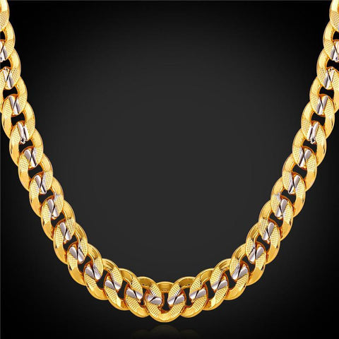 Men Chains Necklaces 9MM Platinum 18K Real Gold Plated-GKandaa.net