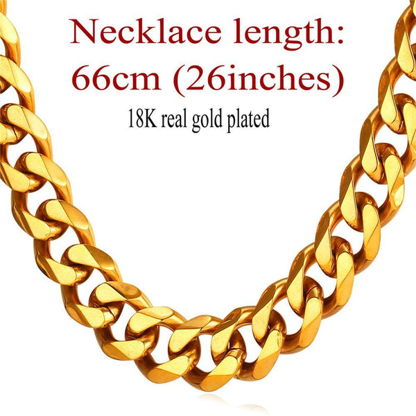 Necklaces 12mm Big 18K Stamp Gold Plate Stainless Steel GN2282-GKandaa.net